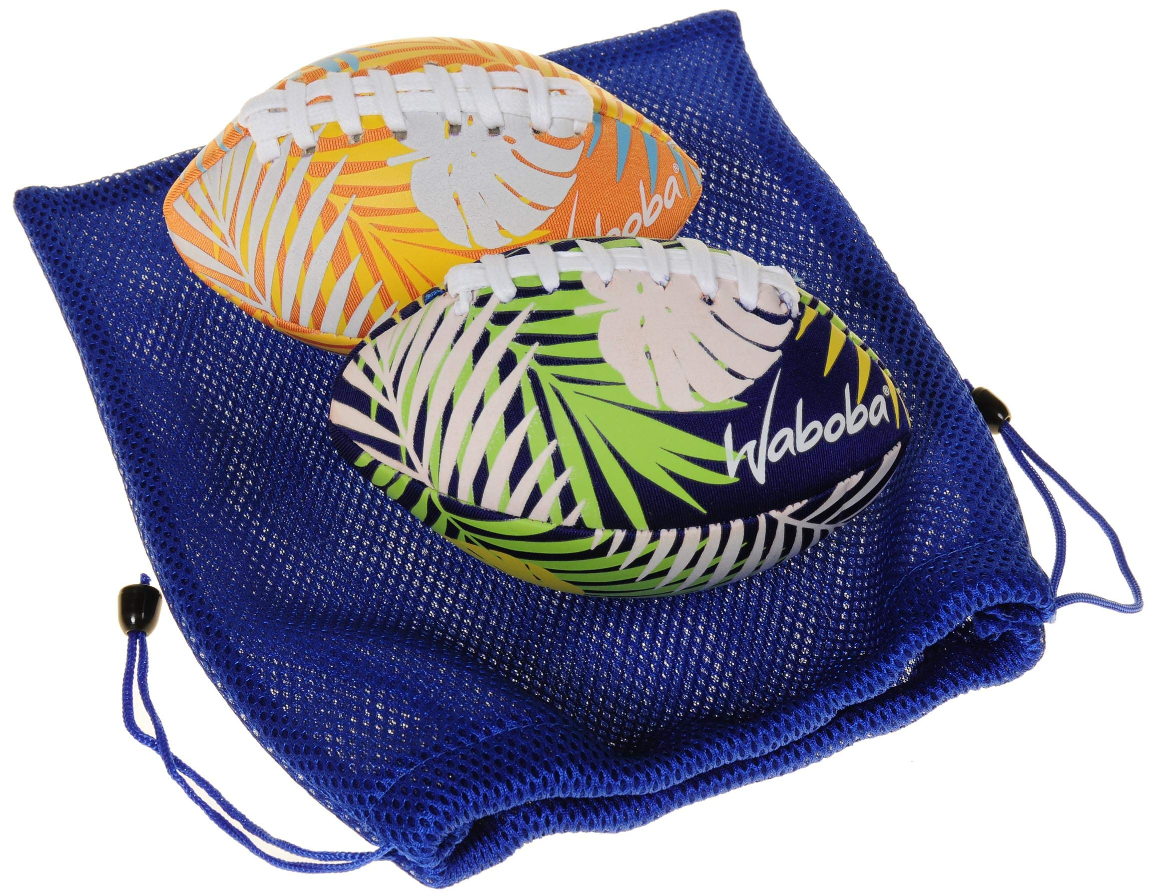 Waboba Color Changing Water Football 6'' // Bundle of 2 Footballs (Random Colors) // Bonus Blue Nylon Mesh Carry Bag// Bundled Items by Waboba