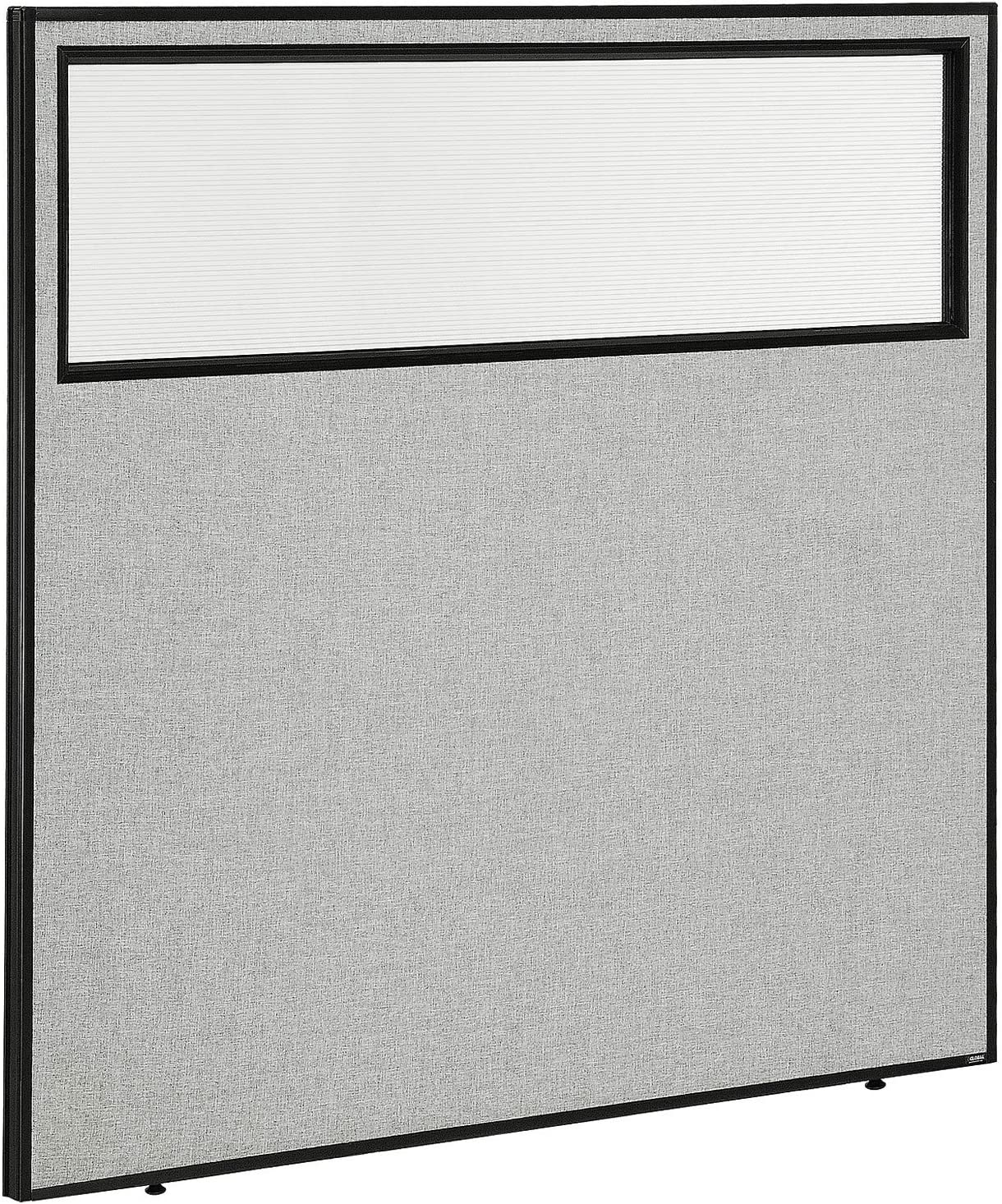 "60-1/4""W x 60""H Office Partition Panel with Partial Window, Gray"