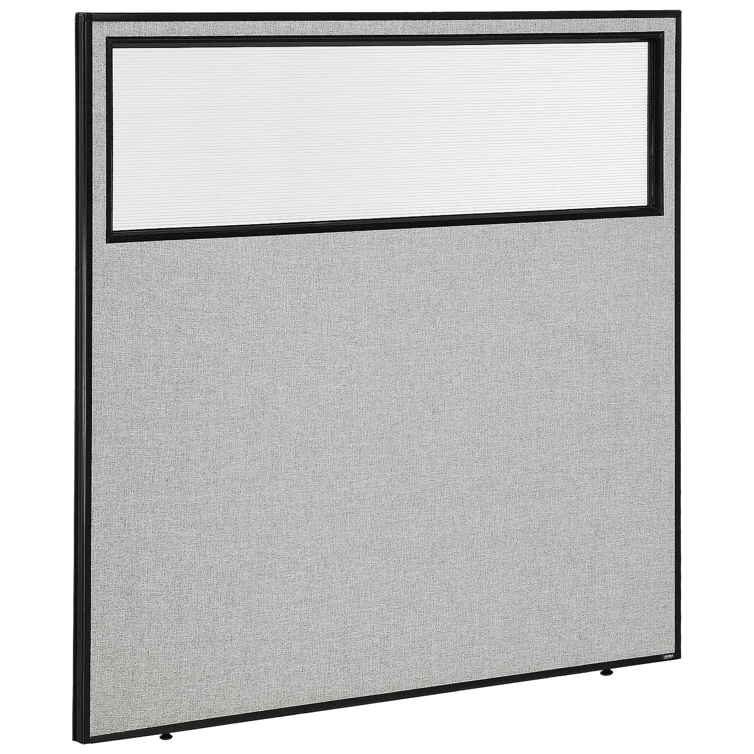 60-1/4''W x 60''H Office Partition Panel with Partial Window, Gray