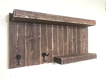 Distressed Wood Bathroom Wall Mount Shelf With 2 Rustic Towel Hooks