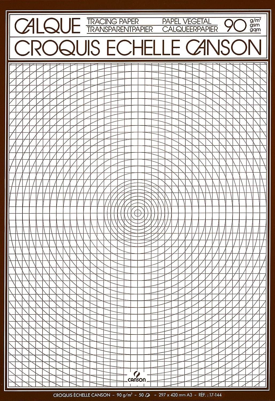 Canson Calque Satin Croquis /échelle 200017144 Papier calque A3 29,7 x 42 cm Translucide