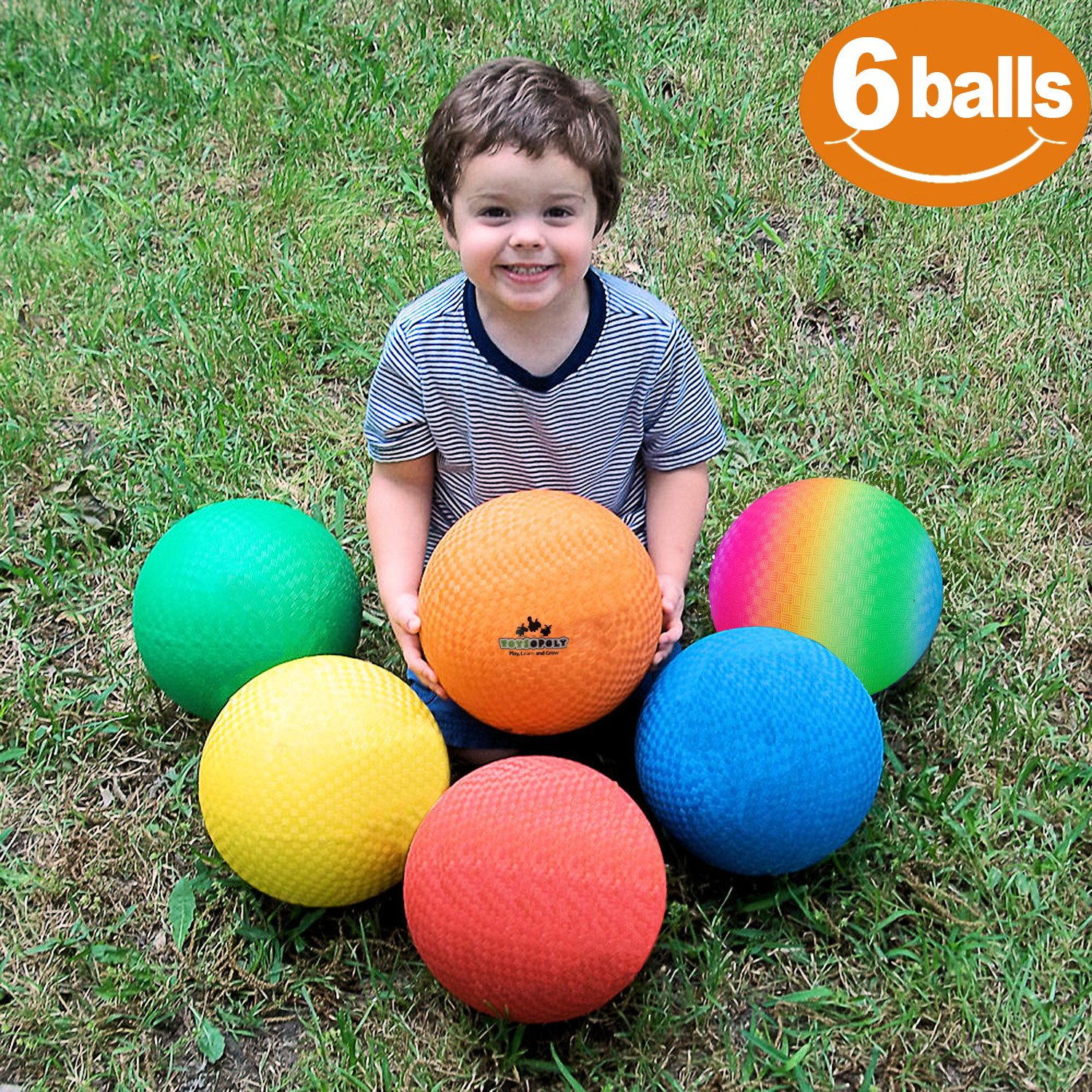 ToysOpoly Playground Balls 8.5 inch Dodgeball (Set of 6) Kickball Kids Adults - Official Size Dodge Ball, Handball, Camps Smart School Pump by ToysOpoly