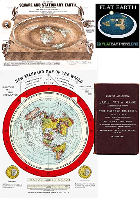 Amazon.com: Flat Earth Maps SET OF 2 MAPS  Flat Earth Map   24