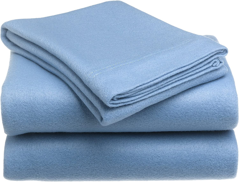 Royal Heritage Home Snuggle Fleece Twin Size Sheet Set, Wedgewood