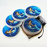 DRINK COASTERS by Magic Mug Rugs - (4) MYSTICAL MERMAID Print Design in Net Bag, vibrant, full color, super-absorbent, contains an anti-bacterial, anti-microbial agent