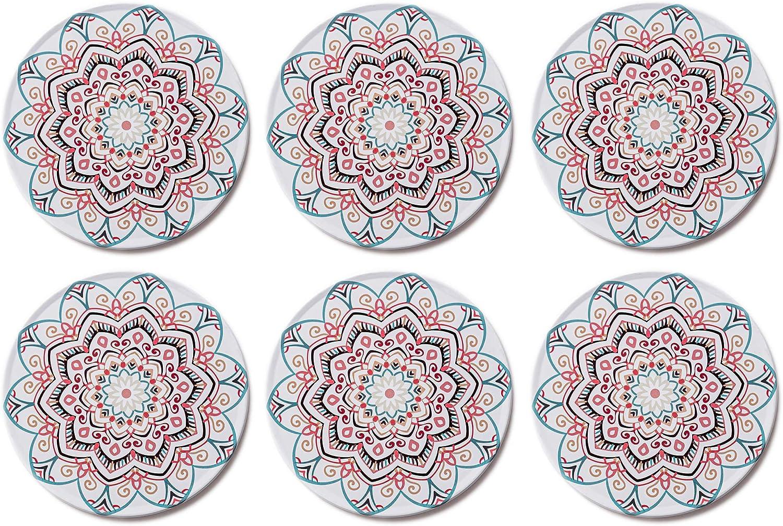 Palooza Premium Design Mandala Glasuntersetzer 6er Set Dekorative Untersetzer Für Glas Tassen Vasen Kerzen Zum Schutz Von Esstisch Und Empfindlichen Oberflächen Rund 9cm Istanbul Küche Haushalt