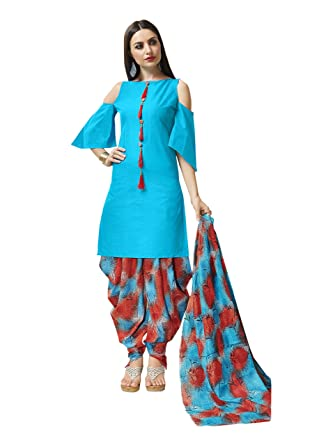 Pisara Women S Cotton Printed Patiala Salwar Suit Dress Material Sky