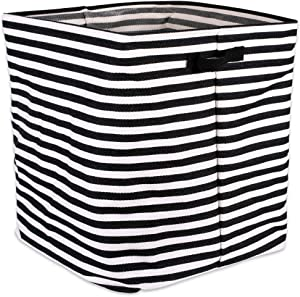 """DII Cabana Stripe Collapsible Waterproof Coated Anti-mold Cotton Rectangle Hamper, Perfect For Laundry Room, Bedroom, Nursery, Dorm, Closet, and Home Organization, 16 x 16 x 19"""" - Black"""