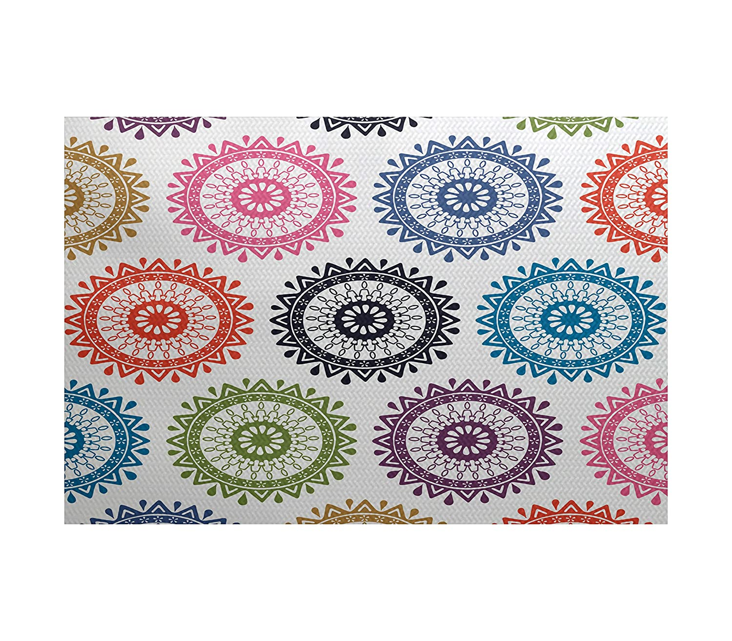 E by design RGN549BL14-23 Groovy, Geometric Print Indoor/Outdoor Rug, 2 x 3, Blue
