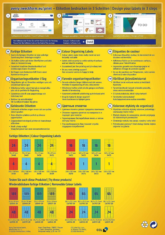 """für Inkjet+Laser+Kopierer Etiketten 105 x 148 mm /""""blau/"""" AVERY Zweckform 3457"""