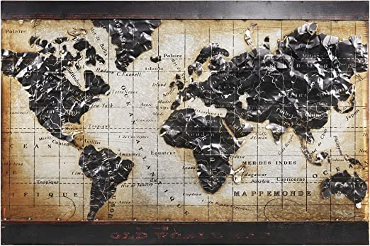 Amazon Com Empire Art Direct World Map Iron Wall Art 3d Metallic Hand Painted Sculpture Ready To Hang Living Room Bedroom Office 48 In X 2 0 In X 32 In Beige Black Home Kitchen