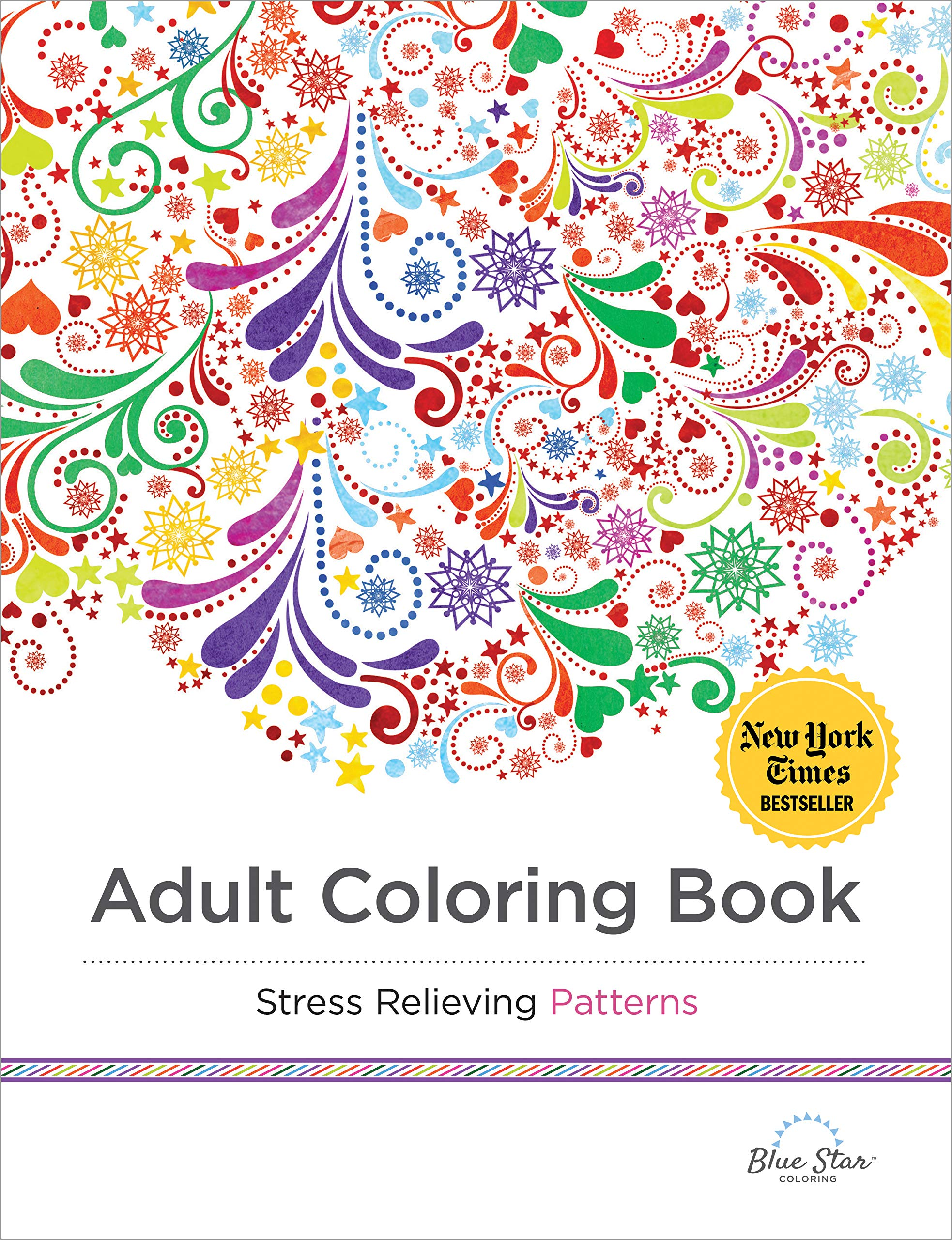 - Adult Coloring Book: Stress Relieving Patterns: Blue Star Coloring