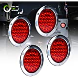 """4pc 4"""" Inch Round LED Trailer Tail Lights [DOT Certified] [Stainless Steel Chrome Bezel] [Connector Plug Included] Stop…"""