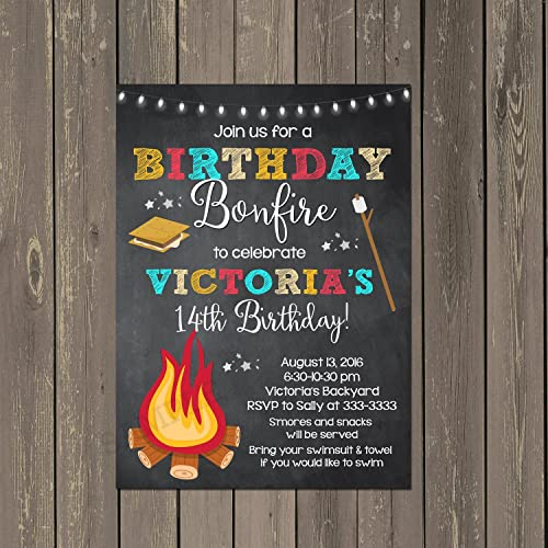 amazon com birthday bonfire and smores birthday party invitations