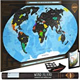 Premium Scratch Off World Map - Deluxe Large Wall Poster - Detailed Travel Tracker - Ideal Gift for Travelers - BONUS Adhesive Stickers + Scratching Tool + Wiping Cloth + Unique eBook