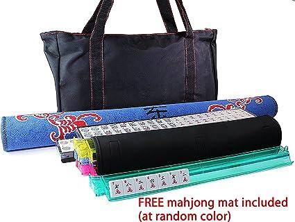 Smartxchoices 166 Tiles Mah Jongg Set American Mahjong 4 Color Pushers//Racks Mahjongg Game with Soft Velour Bag Case,Western Mahjongg Tiles