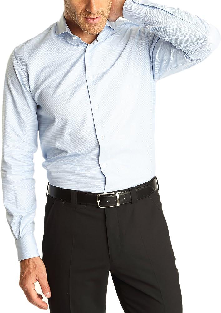 Caramelo, Camisa Regular Cro Cuello Ingles, Hombre · Azul Medio, talla 50: Amazon.es: Ropa y accesorios
