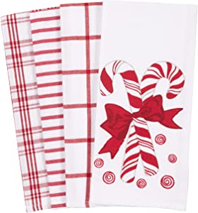 KAF Home Pantry Kitchen Holiday Dish Towel Set of 4, 100-Percent Cotton, 18 x 28-inch (Candy Cane Mints)