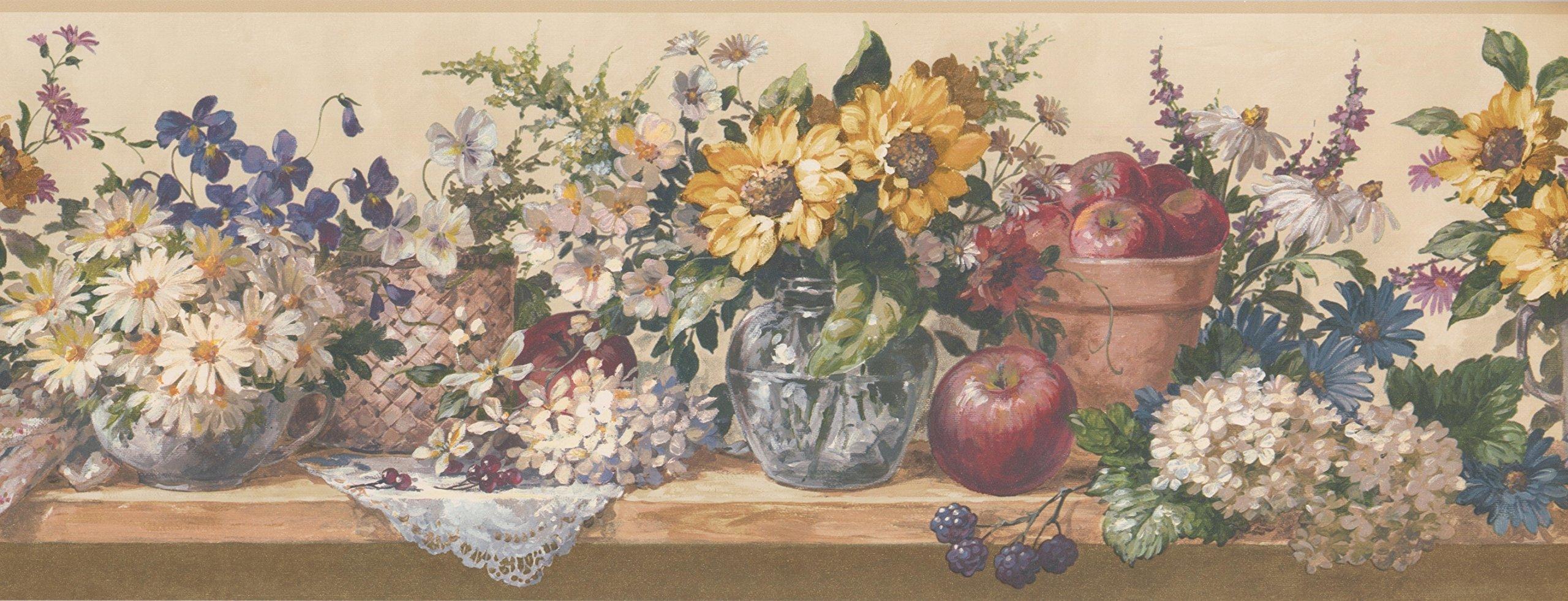 Wallpaper Border - Flower and Fruits Wallpaper Border 5508332