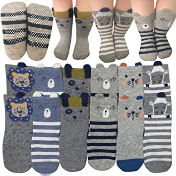 ddcbbec7515c6 6 Pairs Toddler Non Skid Anti Slip Crew Socks with Grips for Baby Boys  Ankle Walker Cartoon Footsocks...