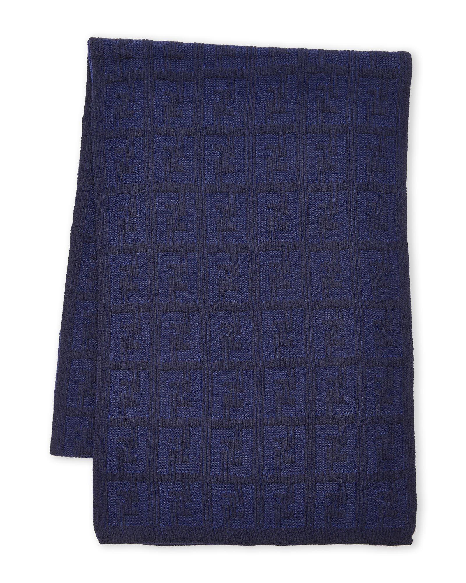 Fendi Women's Men's Knit Tonal Zucca Monogram Wool Scarf, Blue