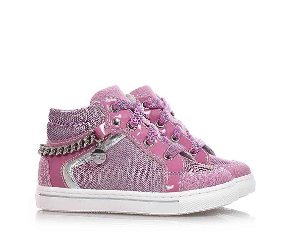 Nero Giardini Noir jardins Gym–Sneaker Lilas en tissu synthétique et daim, avec nuances changeantes, fille - Rose - rose, 18 EU