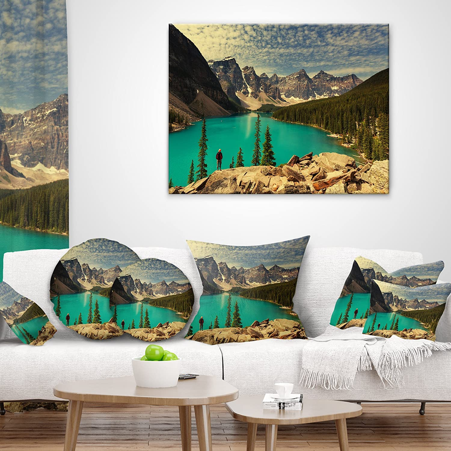 Sofa Throw Pillow 18 X 18 Designart Cu13793 18 18 Beautiful Moraine Mountain Lake Landscape Printed Cushion Cover For Living Room Throw Pillow Covers Decorative Pillows Inserts Covers