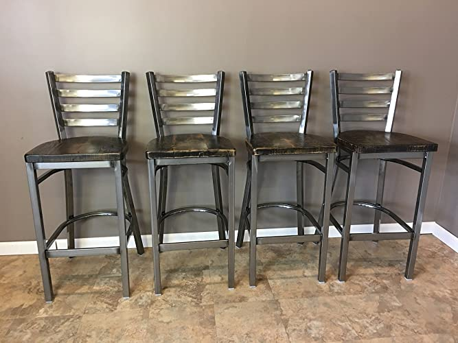 Reclaimed Wood Seat Bar Stool   With Ladder Back Metal Frame   Set of 4   - Amazon.com: Reclaimed Wood Seat Bar Stool With Ladder Back Metal