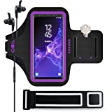 SOSONS Galaxy S9/S9+ Armband, Water Resistant Sports Gym Armband Case for Samsung Galaxy S9/S9 Plus,with Card Pockets and Key Slot,Fits Smartphones with Slim Case + Extension Strap