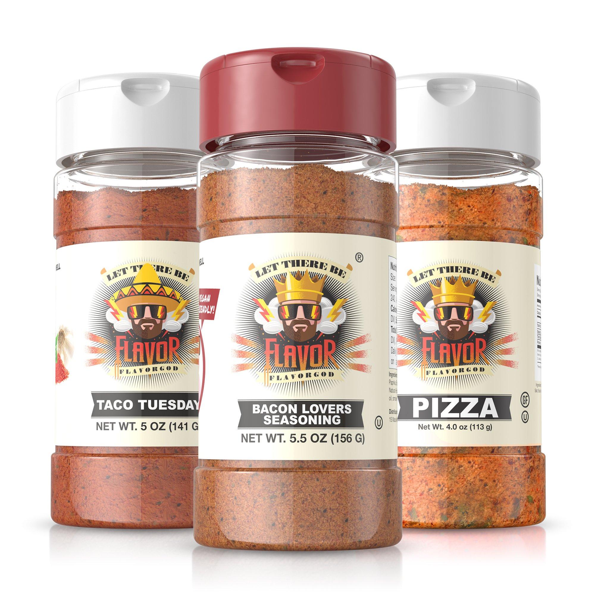#1 Best-Selling 5oz. Flavor God Seasonings - Gluten Free, Low Sodium, Paleo, Vegan, No MSG (Vegan Lovers, 3 Bottles)