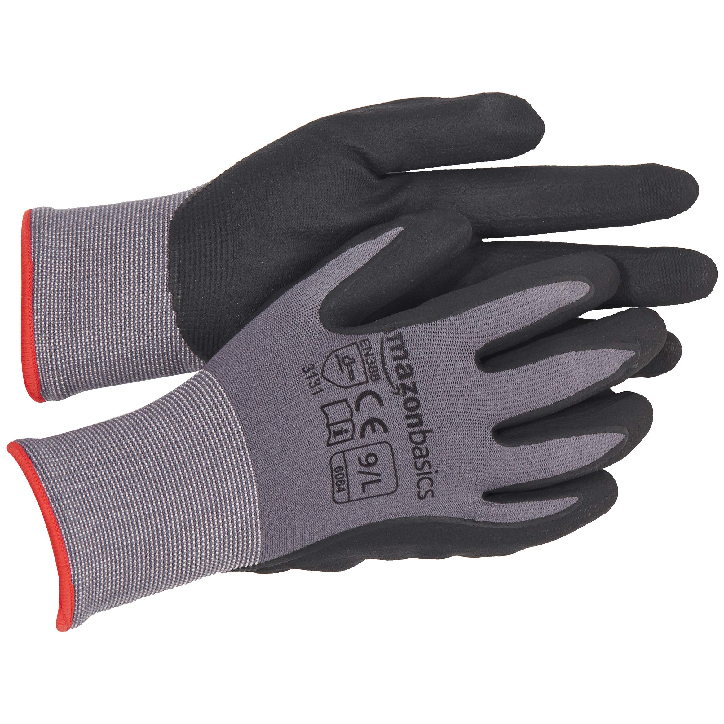 AmazonBasics Micro-Foam Nitrile Coated Work Gloves, Nylon Liner Fiber, Touch Screen, Grey, Size 9, L, 12-Pair by AmazonBasics (Image #6)