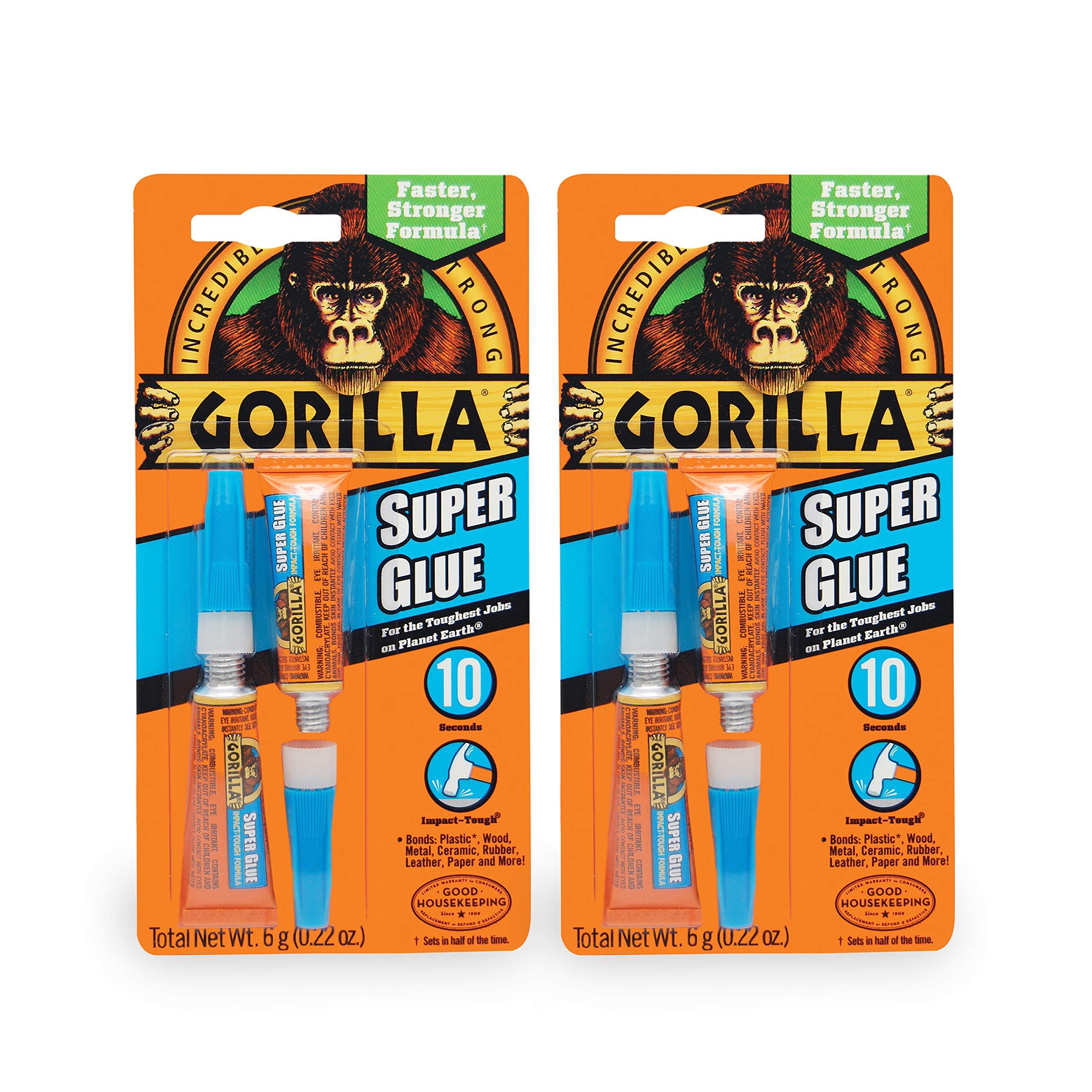Gorilla Super Glue, 6 g, Clear, (2 Pack)