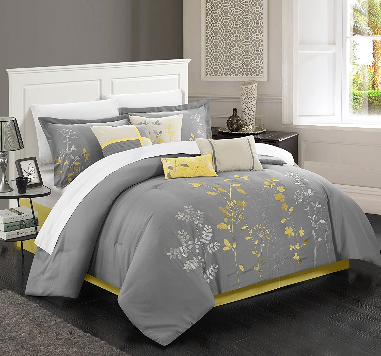 Chic Home 12-Piece Bliss Garden Embroidered Comforter Set, Yellow, King