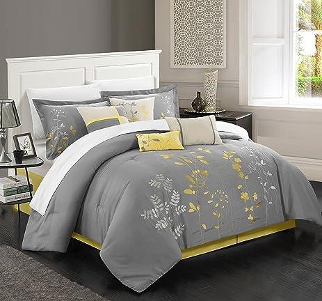 High Quality Chic Home 8 Piece Bliss Garden Comforter Set, Queen, Yellow