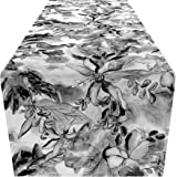 SHA NUR Table Runner 72 Inch Long - Black & White Flower - Perfect for Dining Room, Kitchen, Coffee Table, Bed Room…