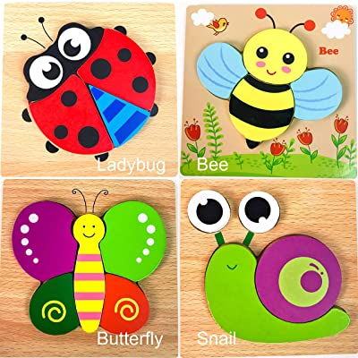 GBG Bib & Toys Safe Wooden Jigsaw Puzzles, [4 Pack] Ladybug Family (The Beatles) Patterns Puzzles for Toddlers Kids Early Educational Toys Gifts, Teaching Aids for 1 2 3 Years Old Boys & Girls: Toys & Games