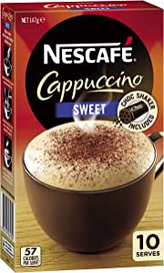 NESCAFÉ Sweet Cappuccino Coffee Sachets 10 Pack, Chocolate Shaker Included