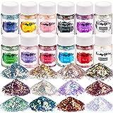 Opal Chunky Glitter, LEOBRO Craft Glitter Set , 12 Color Holographic Glitter for Resin, Iridescent Glitter Flakes for Slime T