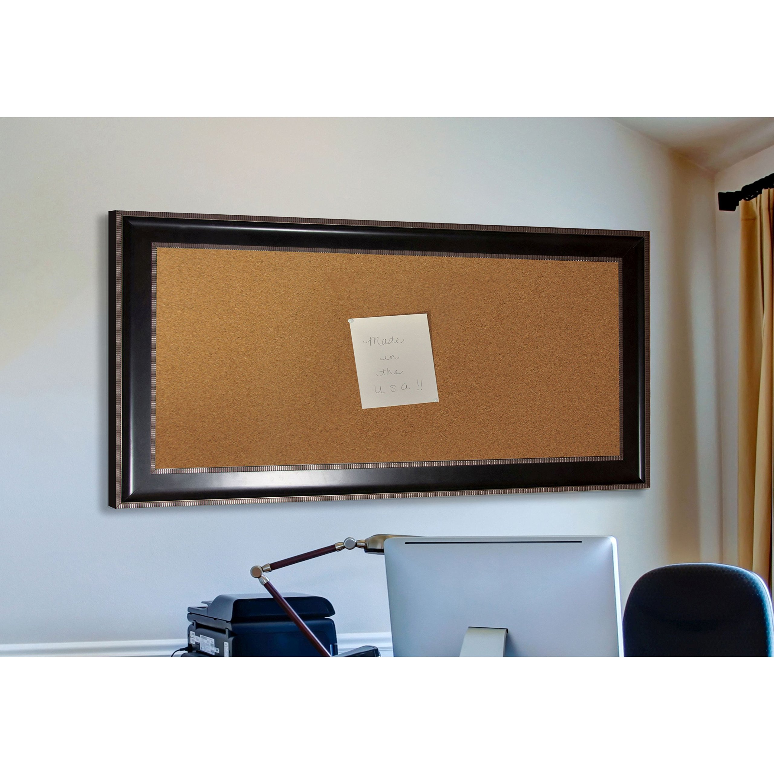 Rayne Mirrors American Made Rayne Black With Silver Caged Trim Corkboard Exterior Size: 32.25 x 44.25