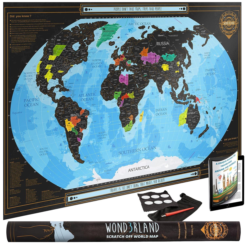 Cartina Geografica Del Mondo Grande.Wond3rland Cartina Geografica Del Mondo Da Grattare Di Alta