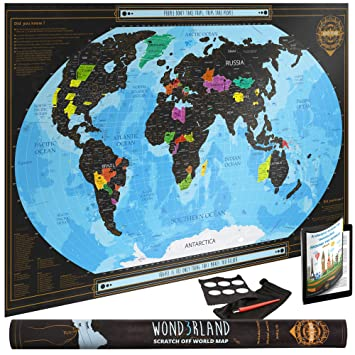 wond3rland xl premium scratch off map of the world with outlined canadian provinces us states