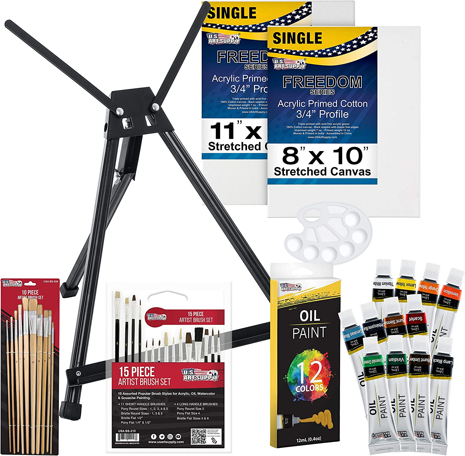 U.S Art Supply 42-Piece Oil Painting Set with Aluminum Tabletop Easel, 12 Oil Paint Colors, Stretched Canvas, Brushes, Plastic Palette & Color Mixing Wheel