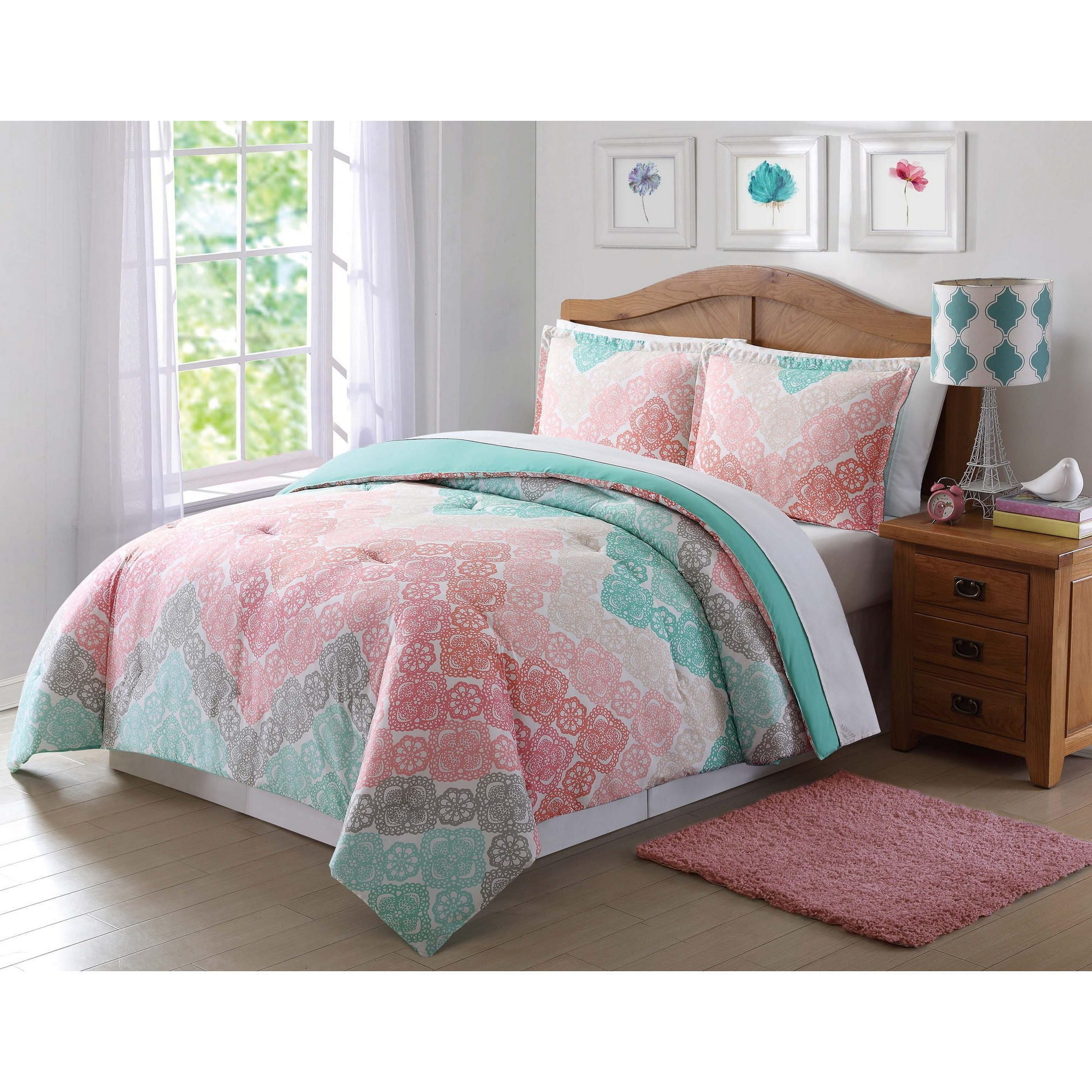 3 Piece Girls Chevron Comforter Full Queen Set, Pretty All Over Medallion Flower Mandala Motif Bedding, Beautiful Multi Floral Lace Horizontal Zigzag Themed, Turquoise Teal Green Coral Light Pink