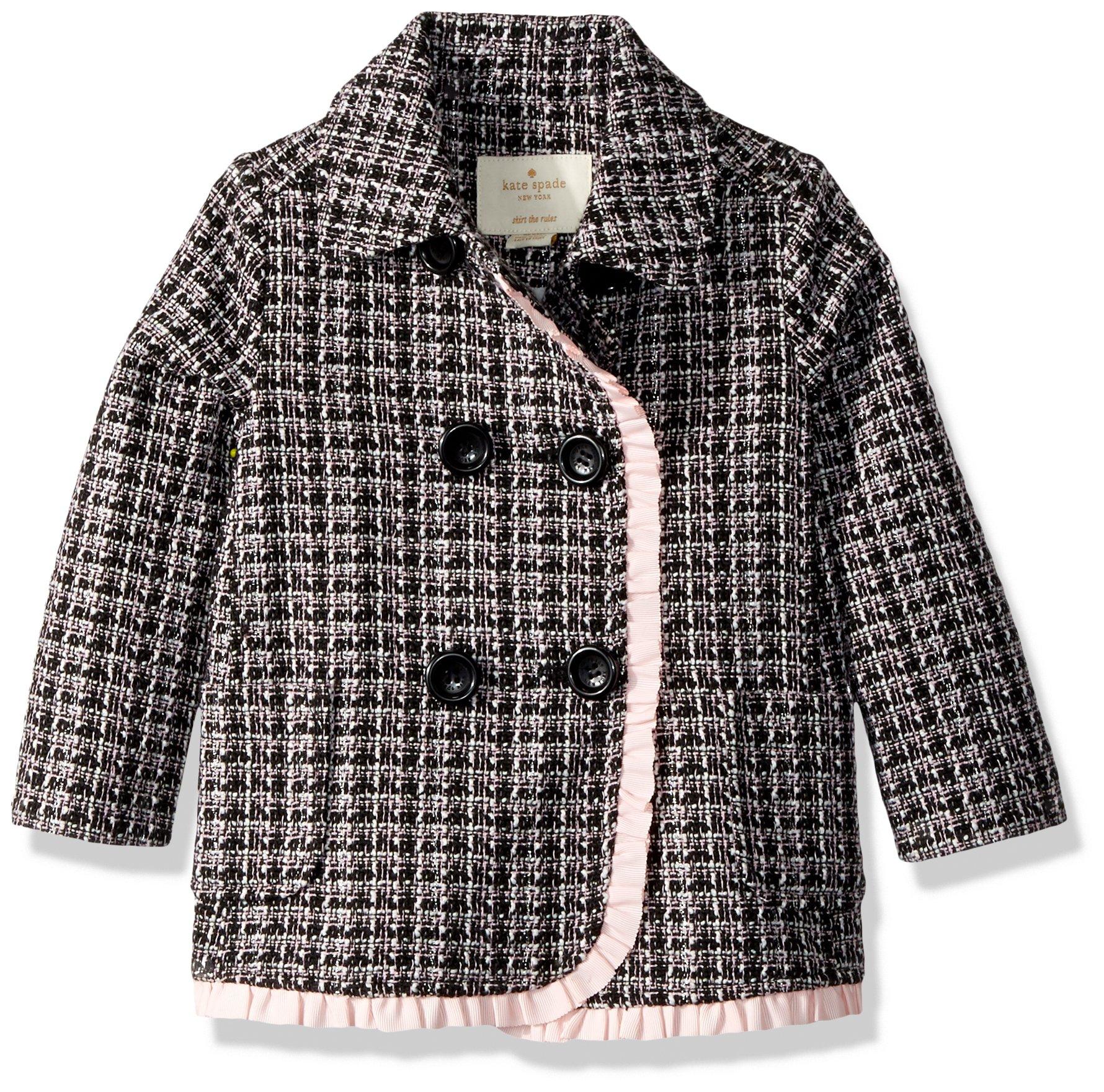 kate spade new york Baby Girls' Tweed Coat, Black/Slipper, 18 Months