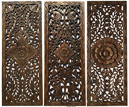 Amazon Com Set Of 3 Rustic Wood Wall Decor Large Carved Wood