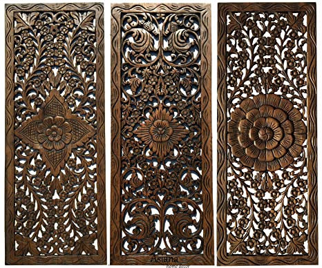 Amazon Com Set Of 3 Rustic Wood Wall Decor Large Carved