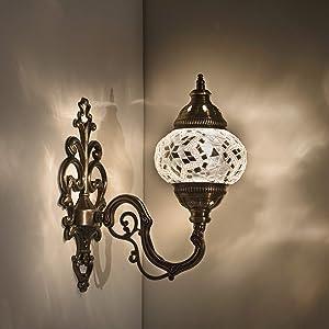 "Handmade Wall Lamp Mosaic Shade, 2019 Stunning 16.5"" Height - 4.5"" Globe, Turkish Moroccan Glass Lantern Arabian Bedside Home Decoration Light Bronze (Pearl)"