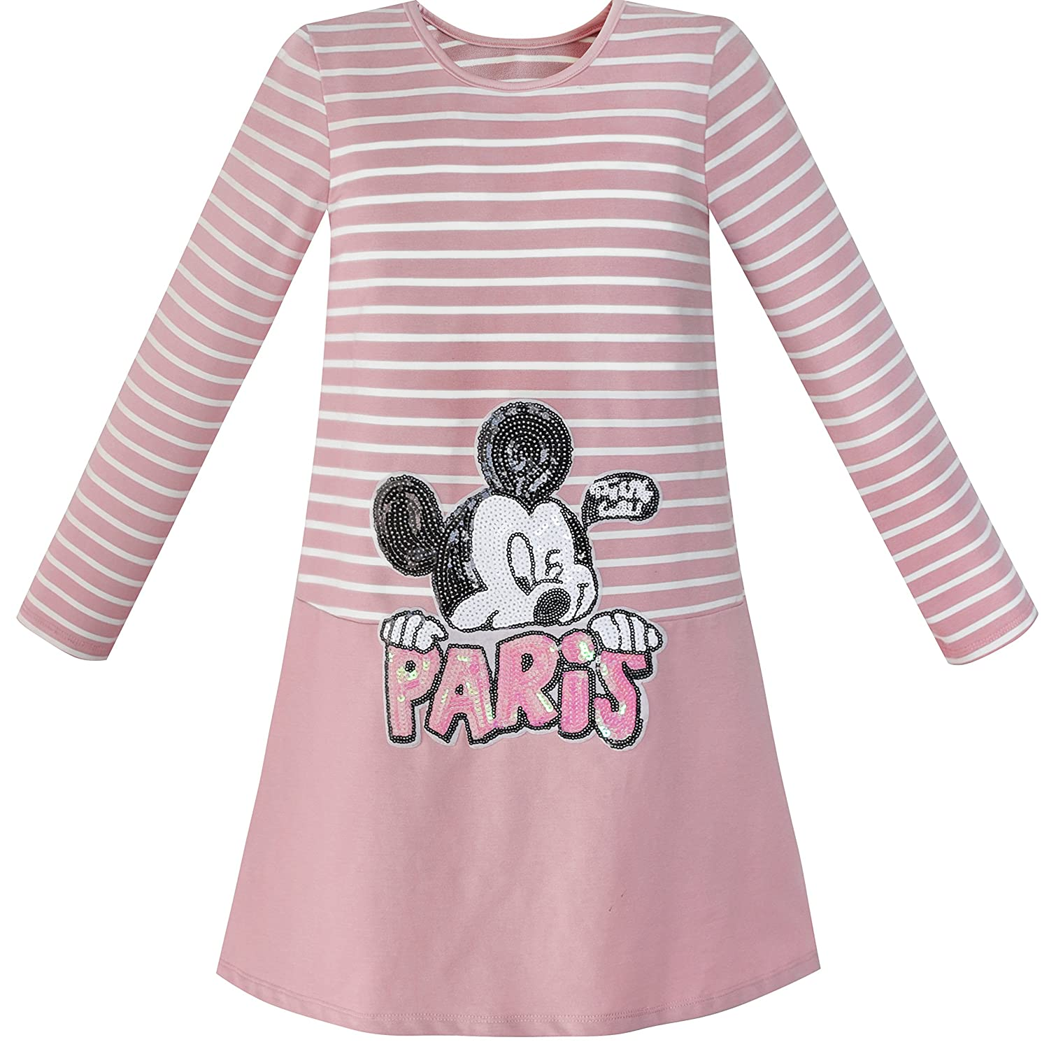 Sunny Fashion Girls Dress Stripe Cartoon Embroidery Long Sleeve Cotton Dress
