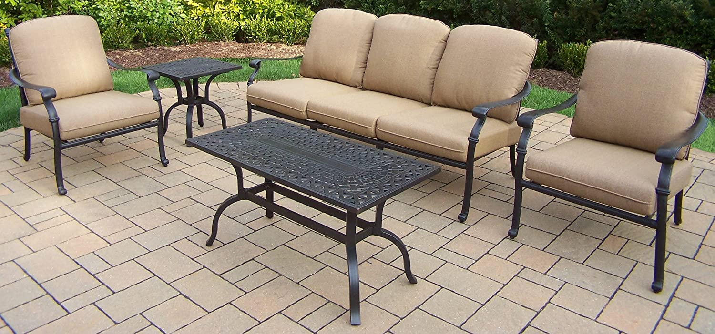 Amazon.com: Oakland Living Hampton 5-Piece Deep sentado Chat ...