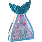 Townley Girl Mermaid Vibes Makeup Set with 8 Pieces, Including Lip Gloss, Nail Polish, Body Shimmer and More in Mermaid Bag,